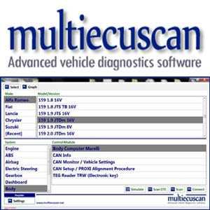 Multiecuscan software za dijagnostiku talijanskih vozila Fiat, Alfa Romeo, Lancia