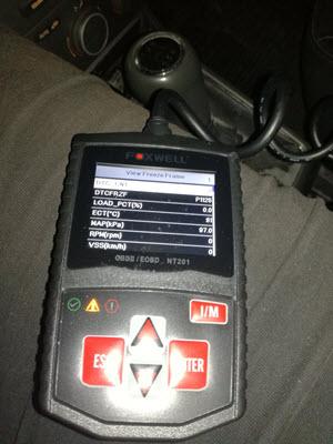Freeze frame na OBDII skeneru