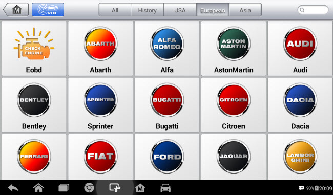 Autel MaxiPRO odabir vozila