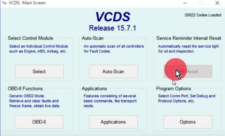 odabir resetiranja servisnih intervala VCDS