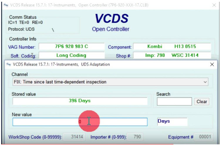 VCDS resetiranje time since last inspection