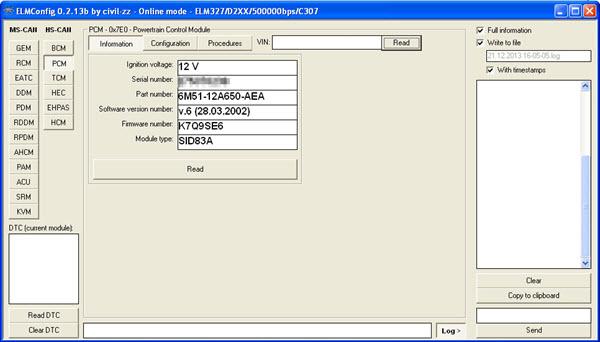Glavni ekran ELMConfig programa