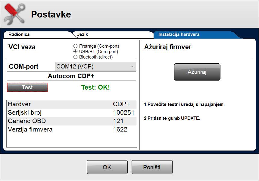 Delphi postavke hardvera TEST