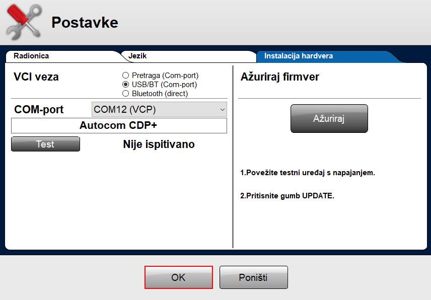 Delphi Autocom instalacija hardvera